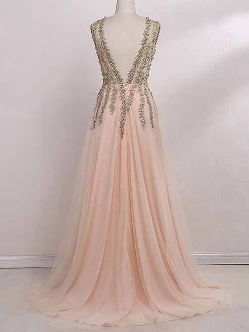 A-Line/Princess V-Neck Sleeveless Sweep/Brush Train Beading Tulle Dresses
