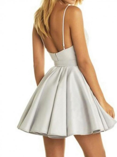 A-Line/Princess V-Neck Satin Sleeveless Applique Short/Mini Dresses