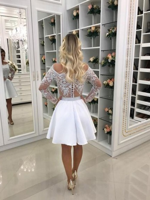 A-Line/Princess Long Sleeves Chiffon Beading Short/Mini Dress