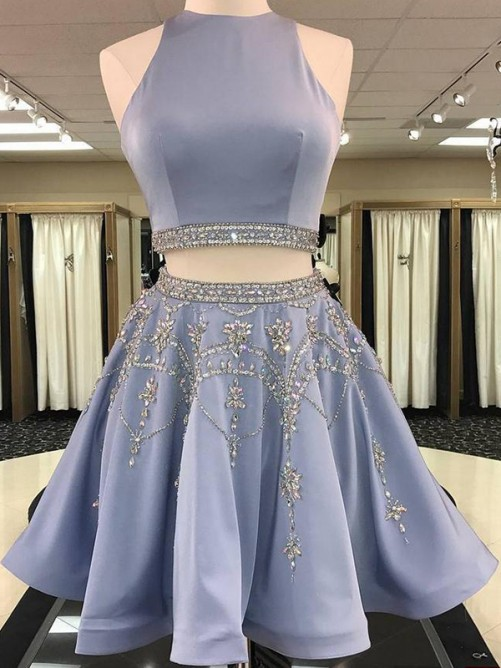 A-Line/Princess Sleeveless Satin Beading Short/Mini Two Piece Dress