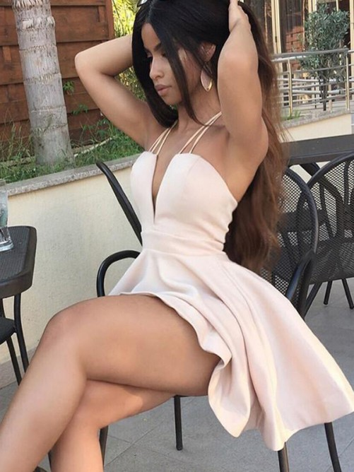 A-Line Charmeuse With Ruffles Sleeveless Spaghetti Straps Short/Mini Dress