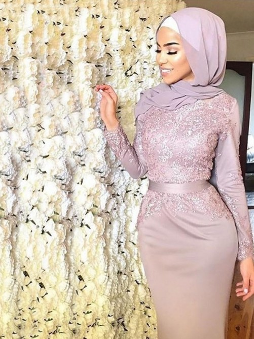 Trumpet/Mermaid Long Sleeves Sweep/Brush Train Scoop Applique Satin Muslim Dresses