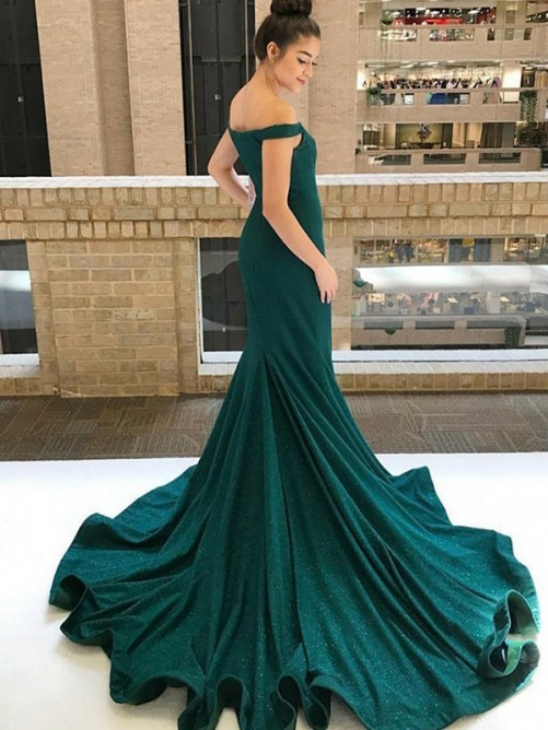 Trumpet/Mermaid Sleeveless Off-the-Shoulder Sweep/Brush Train Sequins Dress