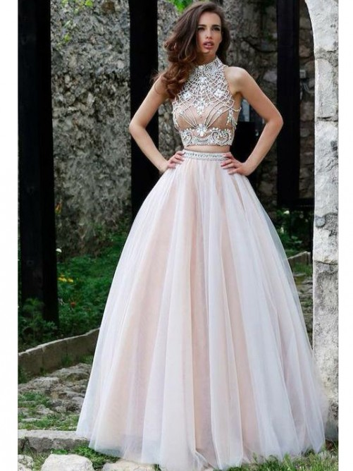 A-Line Sleeveless High Neck Tulle Beading Floor-Length Dresses