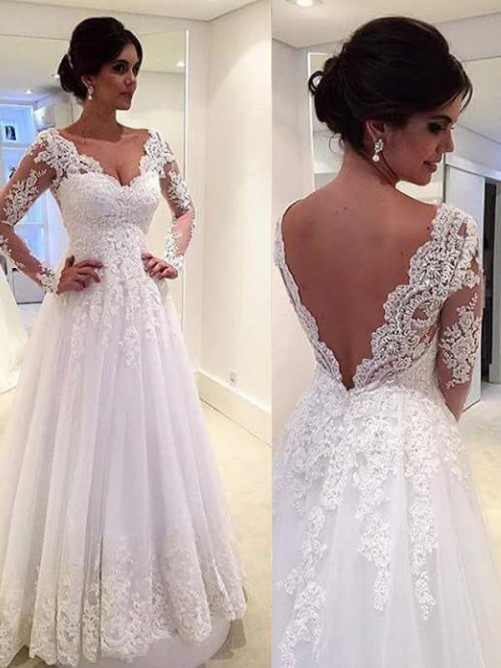 Ball Gown V-neck Long Sleeves Lace Sweep/Brush Train Tulle Bridal Gown