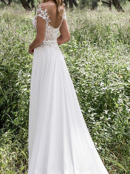 Princess V-neck Sweep/Brush Train Sleeveless Lace Chiffon Bridal Gowns