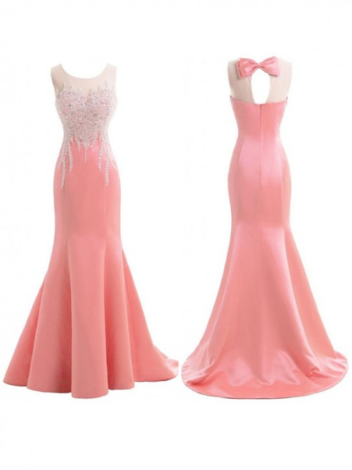 Mermaid Scoop Sleeveless Sweep/Brush Train Satin Beading Bridesmaid Dress