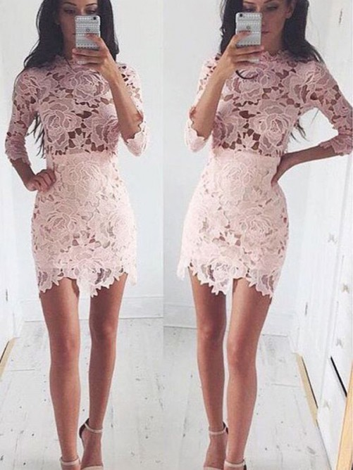 A-Line 1/2 Sleeves Scoop Lace Short/Mini Cocktail Dresses