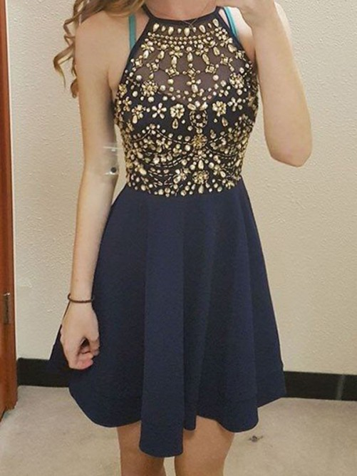 A-Line Sleeveless Scoop Beading Chiffon Short/Mini Homecoming Dresses