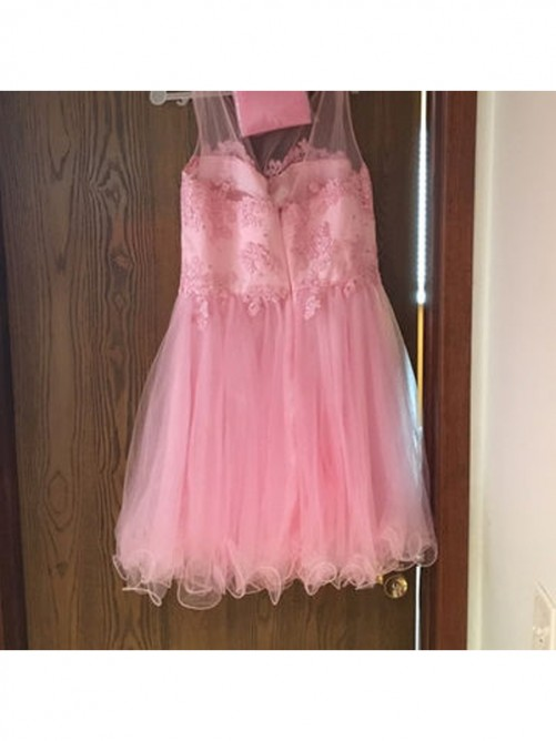 Princess Sleeveless Scoop Applique Tulle Short/Mini Cocktail Dresses