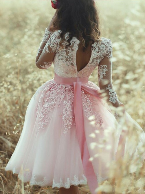 Princess Sleeveless Sweetheart Lace Tulle Short/Mini Party Dresses