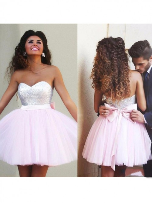 Princess Sleeveless Sweetheart Beading Tulle Short/Mini Fashion Dresses