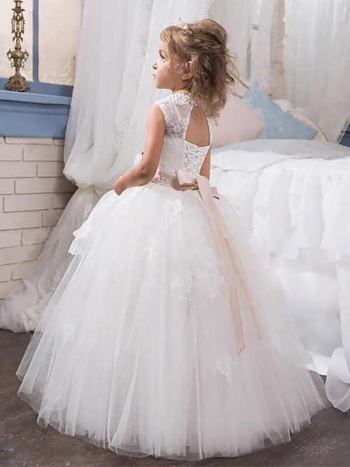 Ball Gown Jewel Sleeveless Floor-Length Tulle Flower Girl Dresses
