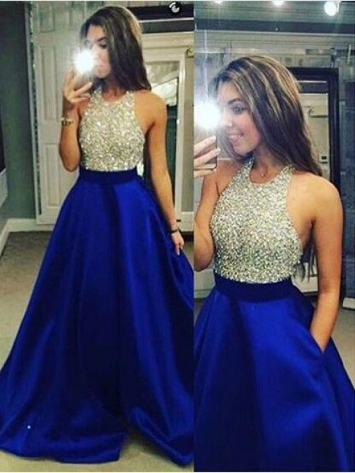 Ball Gown Sleeveless Jewel Satin Floor-Length Dresses