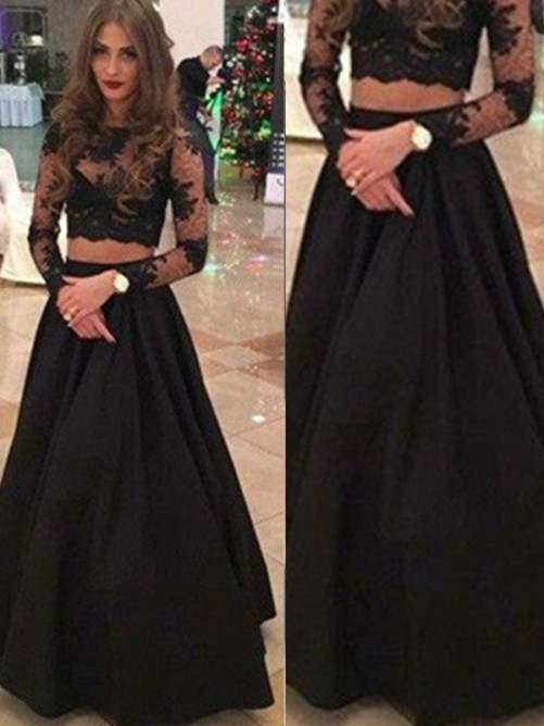 A-Line Long Sleeves Scoop Floor-Length Lace Dresses