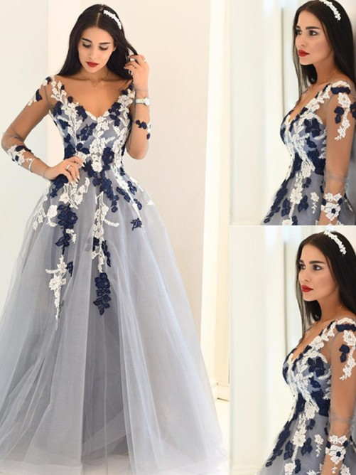 A-Line V-Neck Long Sleeves Applique Tulle Sweep/Brush Train Dresses