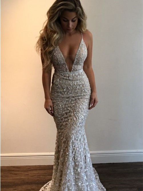 Mermaid V-neck Sleeveless Lace Floor-Length Dresses