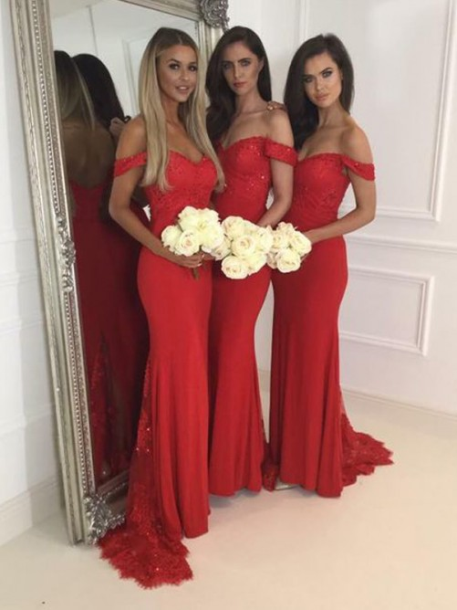 Trumpet/Mermaid Off-the-Shoulder Sleeveless Jersey Sweep/Brush Train Bridesmaid Dresses