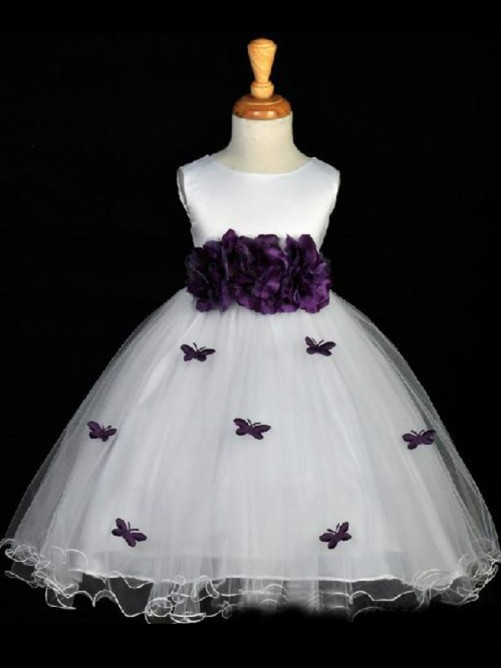 Hot Organza A-line/Princess Scoop Sleeveless Ankle-length Hand-made Flower Flower Girl Dresses