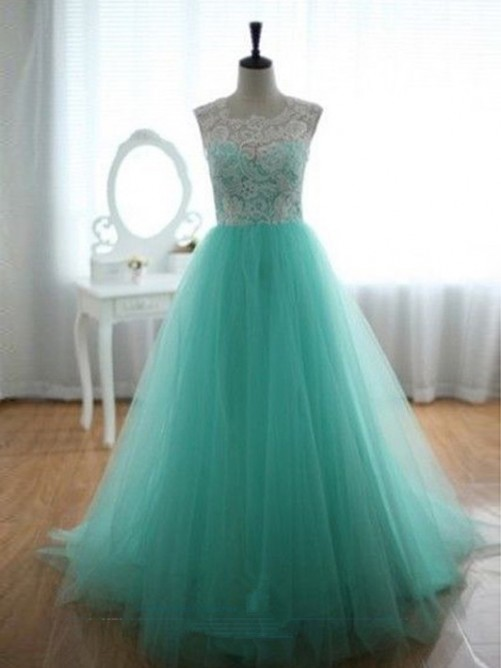 A-line/Princess Sleeveless Scoop Sweep/Brush Train Organza Lace Dresses