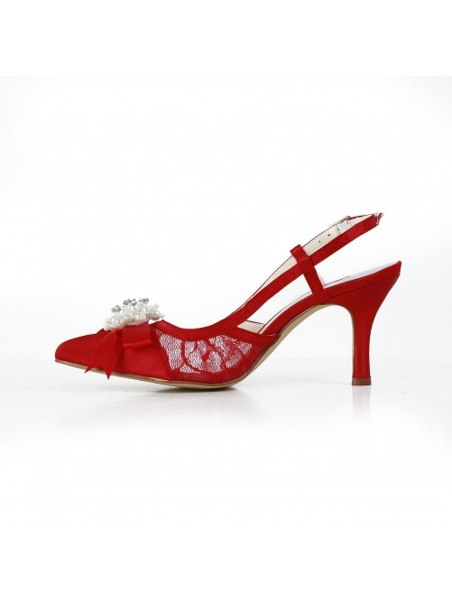 Pretty Satin Stiletto Heel Sandals Closed Toe With Imitation Pearl Shoes