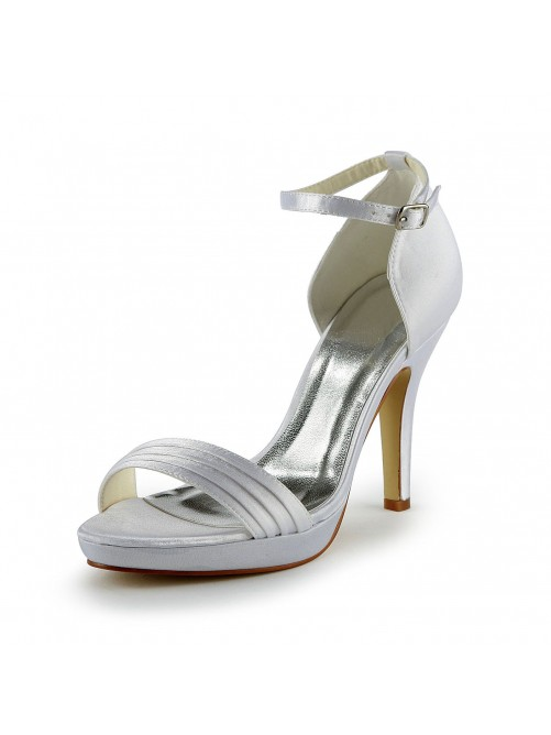 Pretty Satin Stiletto Heel Sandals With Buckle Wedding Shoes