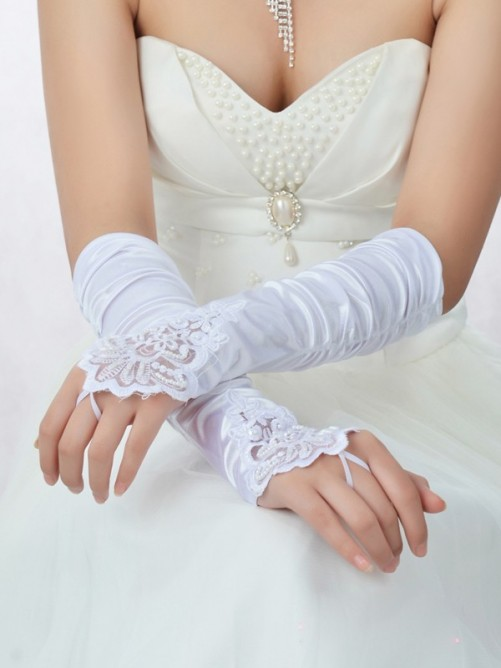 Nice Lace Satin Beading Wedding Gloves