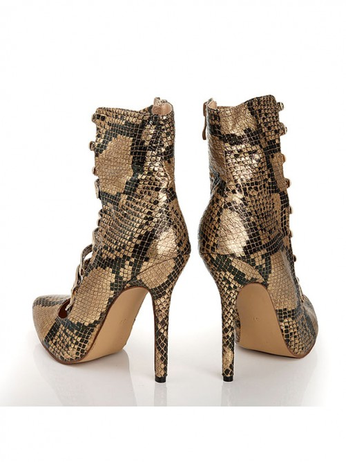 Sheepskin Snake Print Sandals Boots with Lace Up