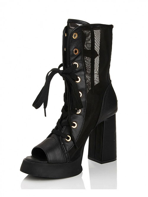 Leather Net Satin Thick Heel Sandals Boots With Lace Up