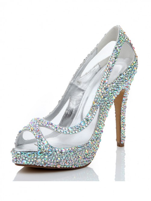 Sheepskin Net Satin Peep Toe High Heels