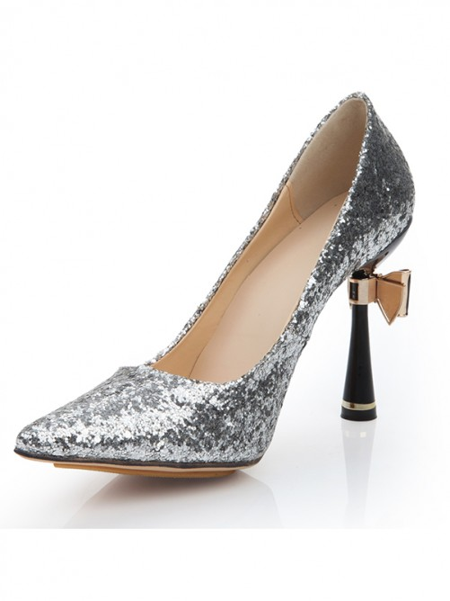 Elastic Leather Paillette Pointed Toe High Heels with metallic Butterfly