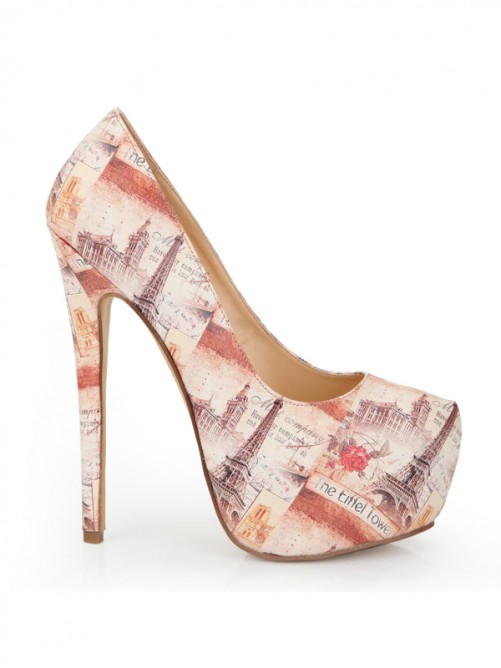 Multi Colors Newspapers Patterns High Heels