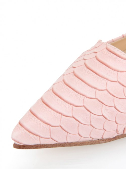 Pink Fish-scale Pattern Flat Pointed Toe Shoes
