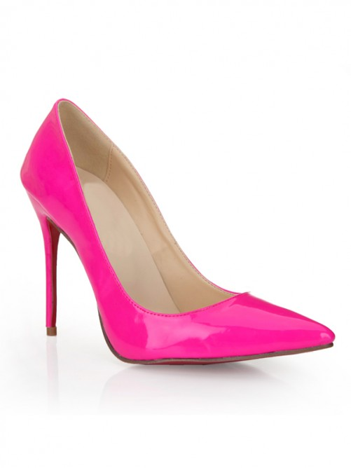 Fuchsia Patent Leather Thin Heels Pointed Toe High Heels Party Shoes