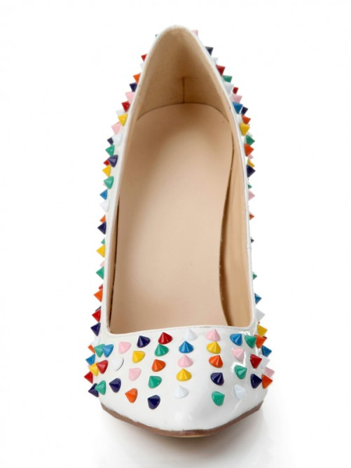 Cute Patent Leather Multi Colors Rivet Pointed Toe High Heels Shoes