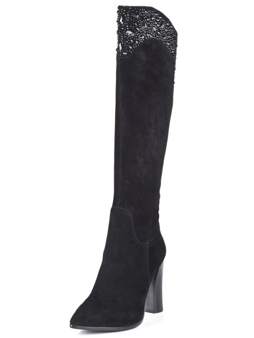 Black Suede Pointed Toe Boots S5LSDN1205LF