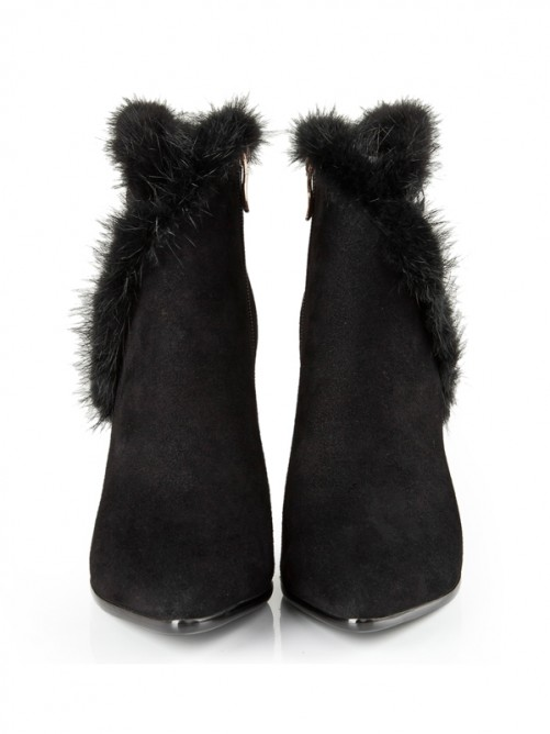 Black Suede Rhinestones Pointed Toe Boots S5LSDN1213LF
