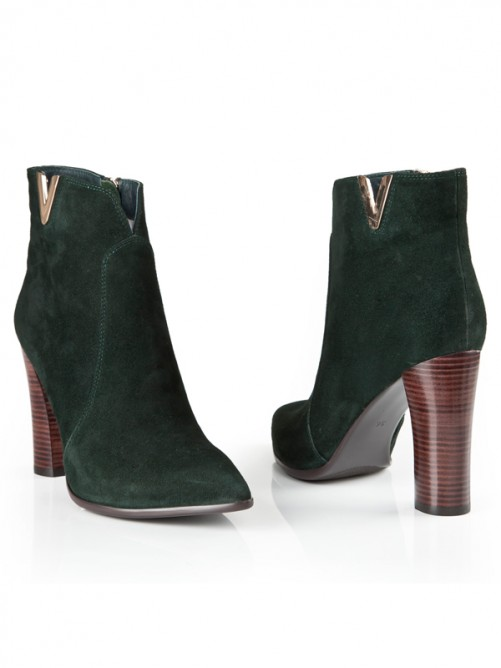 Suede Thick Heel Pointed Toe Boots S5LSDN1214LF