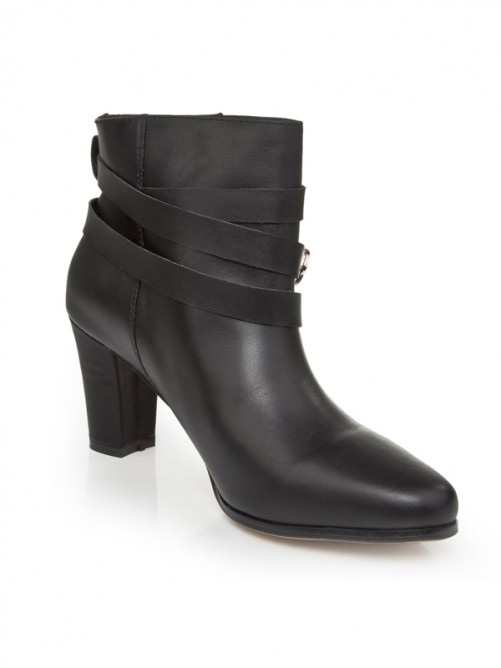 Black Thick Heel Leather Boots S5LSDN1240LF