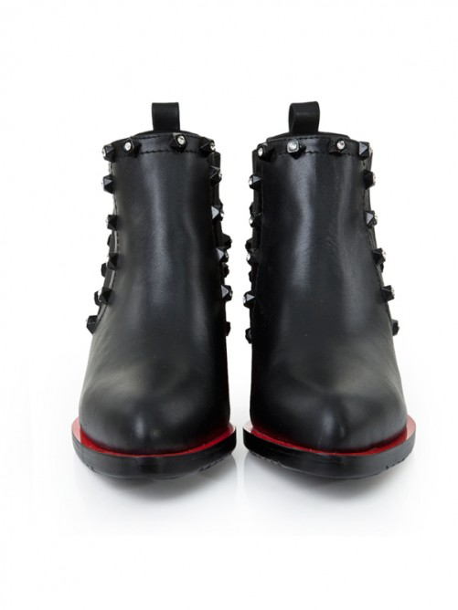 Stunning Black Thick Heel Leather Boots