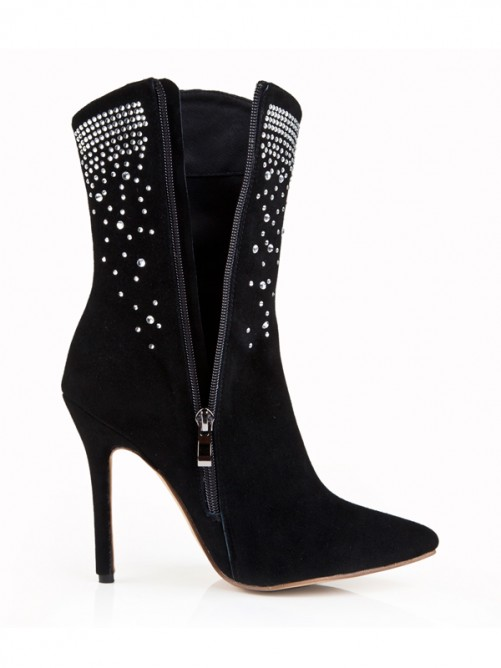 Black Suede Pointed Toe Boots