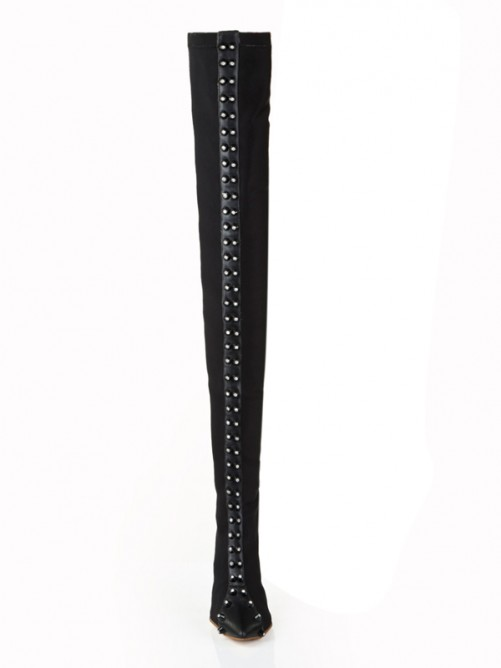 Black Elastic Leather Pointed Toe Boots