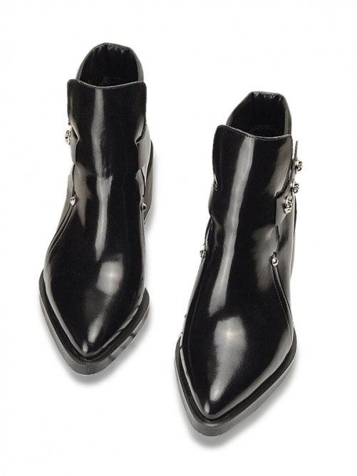 Black Leather Pointed Toe Boots
