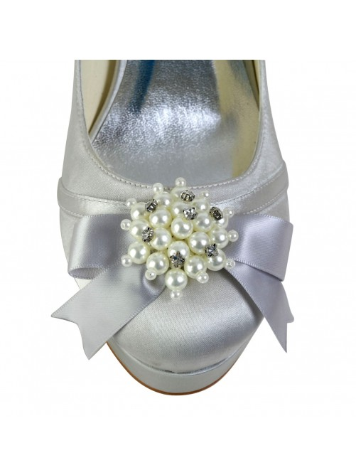 Satin Chunky Heel Closed Toe Platform Pumps Wedding Shoes With Bowknot Imitation Pearl