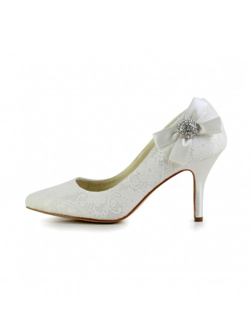 Satin Cone Heel Closed Toe Pumps Wedding Shoes With Bowknot Rhinestone