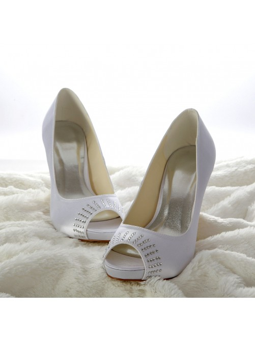 Satin Cone Heel Peep Toe Platform Sandals Wedding Shoes With Rhinestone
