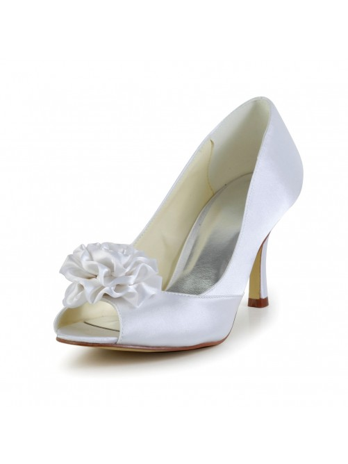 Satin Cone Heel Peep Toe Pumps Sandals Wedding Shoes With Satin Flower