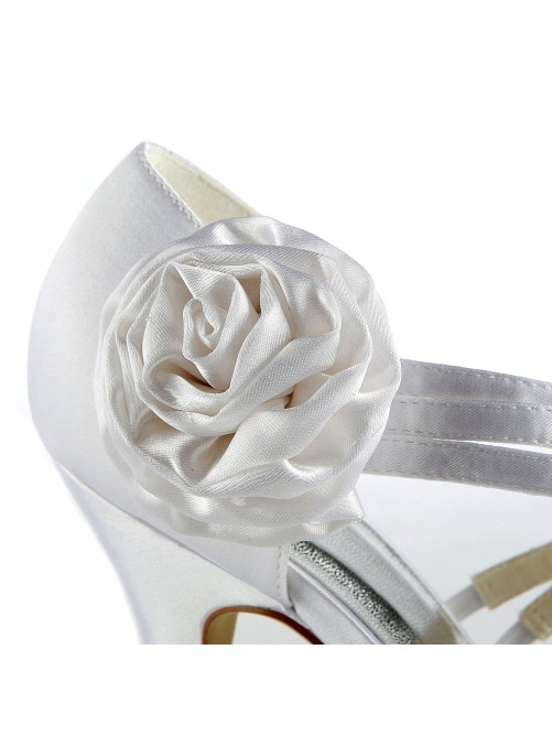Satin Cone Heel Platform Sandals Wedding Shoes With Satin Flower