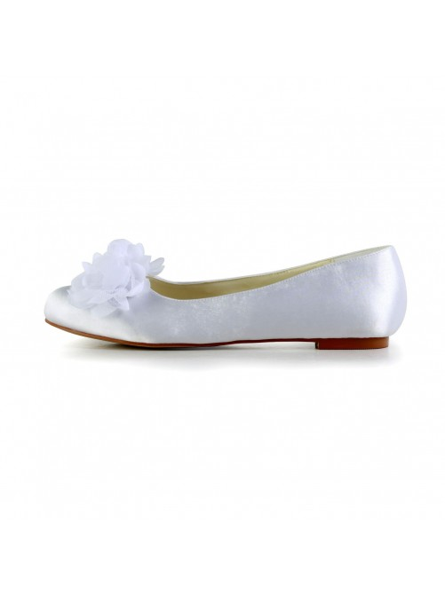 Satin Flat Heel Closed Toe Flats Wedding Shoes With Satin Flower