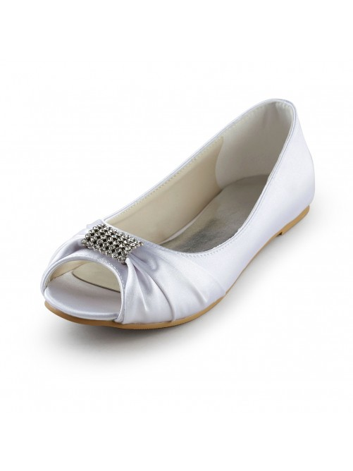 Satin Flat Heel Peep Toe Sandals Wedding Shoes With Rhinestone